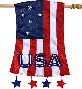 Briarwood Lane Patriotic Applique House Flag USA Stars & Stripes 28