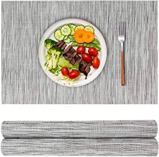 saileaf Placemats Set 0f 2 Bamboo Braided Vinyl Placemat,Heat Insulation and Stain Resistant Table mats for Hotel Home Din...