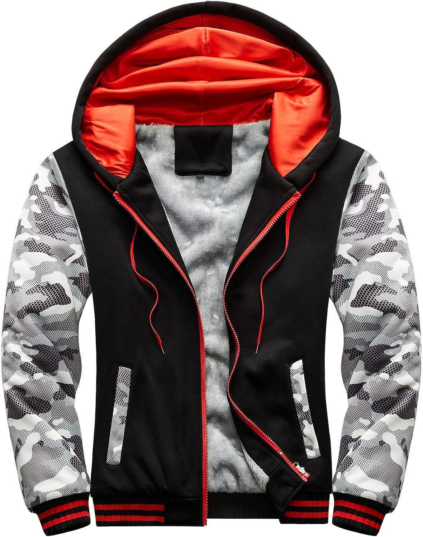 WUAI-Men Zip Up Hoodie Heavyweight Winter Sweatshirt Fleece Sherpa Lined Warm Ski Mountain Windbreaker Jacket