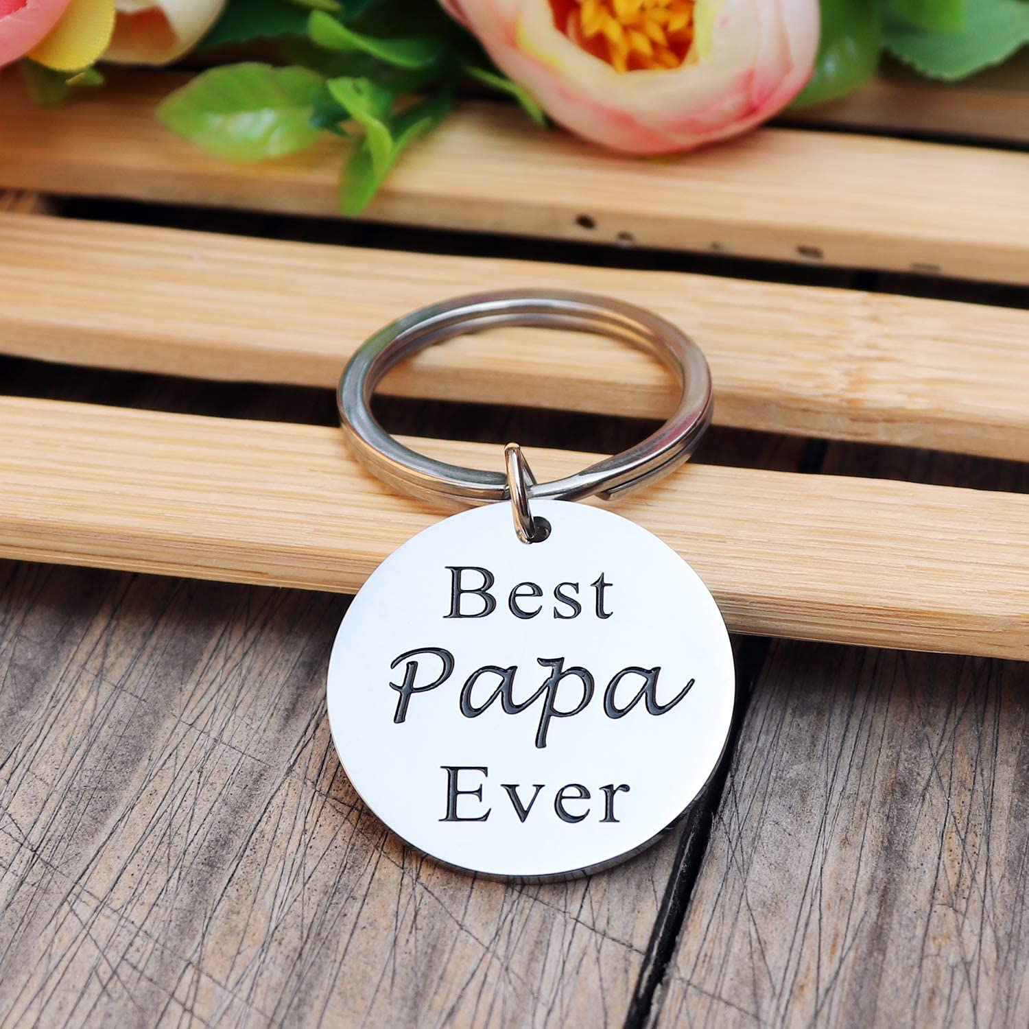 Father's Day Keychain Gifts for Dad, Fathers Birthday Keyring - Best Papa Ever