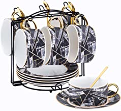 Yelife Porcelain Tea Cups Set, 8 Ounce Coffee Cups with Saucers & Spoon, Mug with Golden Handle, with Rack, for Cappuccino...