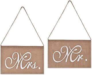 DSstyles Stuhl Banner Set Hochzeit Dekoration Set von 2 Jute Bögen Mr. & Mrs Jute Stuhl Schild Girlande Rustikal Party Dekoration