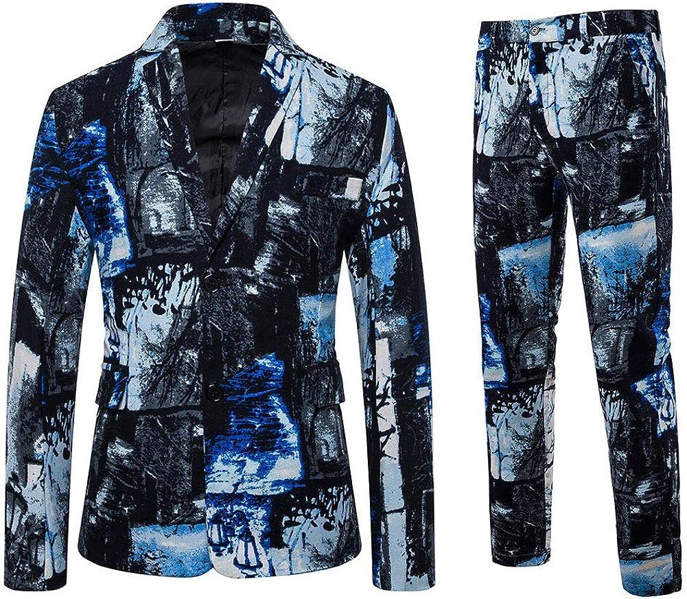 Mens 2 Piece Print Dress Suit Casual Floral Party Tux Jacket Slim Fit Outfit