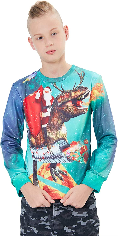Funnycokid Kids Ugly Christmas Sweatshirt Boys Girls 3D Print Xmas Fleece Pullover Jumper 4-16Y