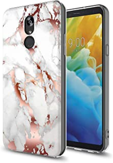 GORGCASE Compatible with LG Stylo 4 Phone Case, LG Stylo 4 Plus, Slim Sleek Anti-Scratch Hard Thin PC TPU Armor Shockproof Cute Bling Girls Women Protective Cover for Marble Rose Gold White