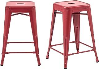 Buschman Set of 2 Matte Red 24 Inch Counter Height Metal Bar Stools, Indoor/Outdoor, Stackable