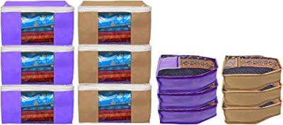 Kuber Industries Non Woven 6 Pieces Saree Cover/Cloth Wardrobe Organizer and 6 Pieces Blouse Cover Combo Set (Purple & Brown)