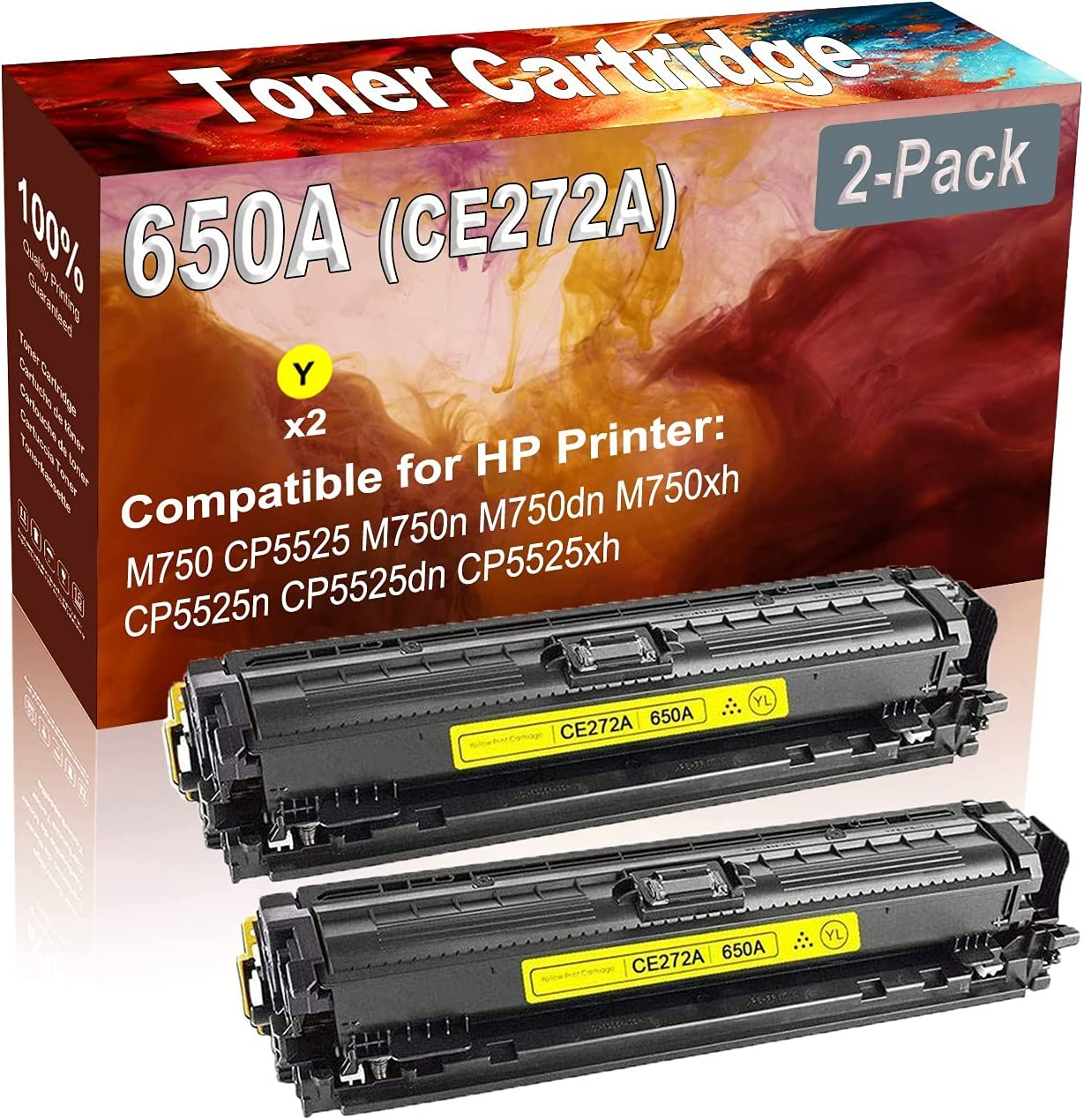 2-Pack (Yellow) Compatible High Yield 650A (CE272A) Printer Toner Cartridge use for HP M750 CP5525 M750n Printers