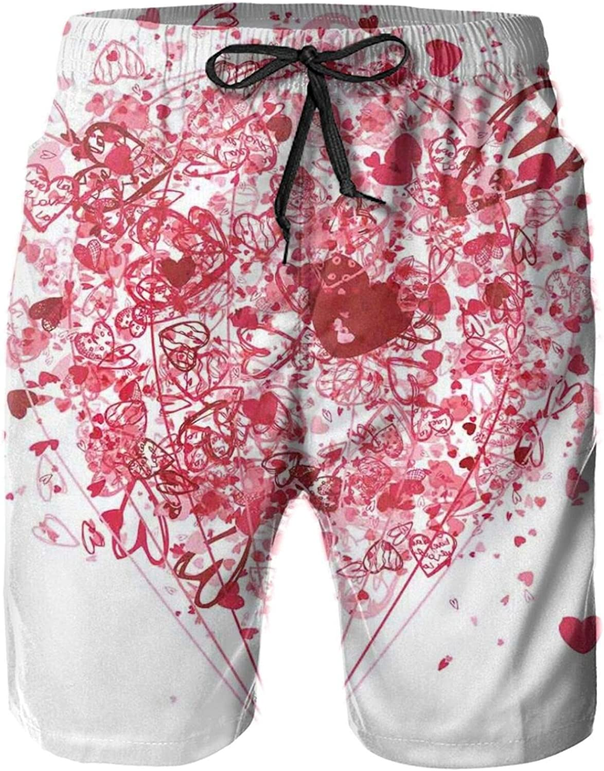 Love is in The Air Valentines Day Celebration Themed Heart Filled Air Balloon Mens Swim Shorts Casual Workout Short Pants Drawstring Beach Shorts,XL