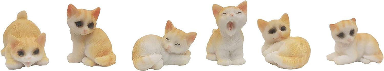 Exasinine 6 Pcs Resin Miniature Cats Kitten Figurines Cake Toppers Decoration Set for Succulent Planter Moss Landscape DIY Terrarium Home Décor