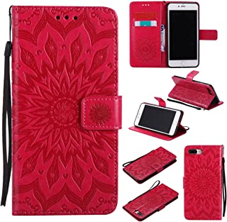 iPhone 7 Plus Case,Slim Flip Wallet Cover [Embossed] [Kickstand] [Shock Absorbent] with Inner Soft Bumper Magnetic Cover Credit Card Holder Xmas Gift for Girl for Apple iPhone 7 Plus -Sunflower Red