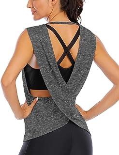 Fihapyli Women's Cross Back Yoga Top Sleeveless Workout Top Active Running Shirt
