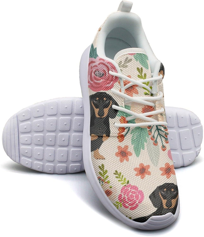 ERSER Black Dachshund Dog Flower Florals Neutral Running shoes Women