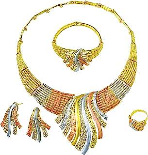Gold Jewelry Set Dubai African Jewelry Sets for Women 24 K Hollow Golden Luxury Necklace Earrings Bracelet Ring Set for La...