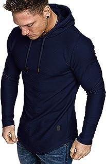 Mens Fashion Athletic Hoodies Sport Sweatshirt Solid...