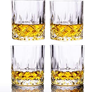 Whiskey Glasses Set of 4, 8-11 Ounce Stylish Lead-free Cut Crystal Drinking Short Tumblers Lowball Glassware for Brandy Scotch Bourbon Cognac Rum Gin Water Old Fashion Cocktail