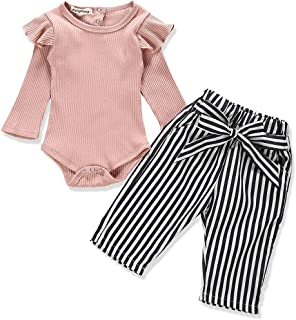 Newborn Baby Girl Clothes Solid Color Romper + Stripe Pants 2PCS Winter Outfit Set