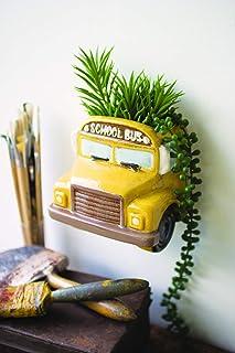 Kalalou Ceramic Yellow Bus Wall Planter