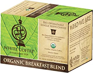 White Coffee Organic Single Serve Coffee, Breakfast Blend, 10 Count