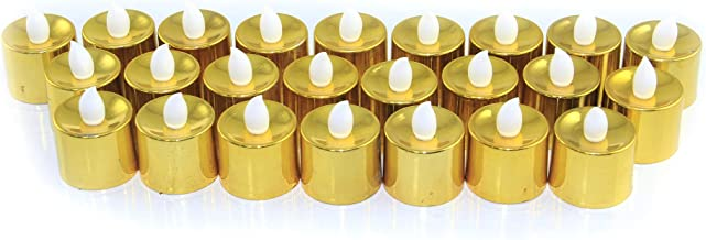 Rosymoment Battery-Powered LED Candles, Gold/White, 377-12, 24 Pieces