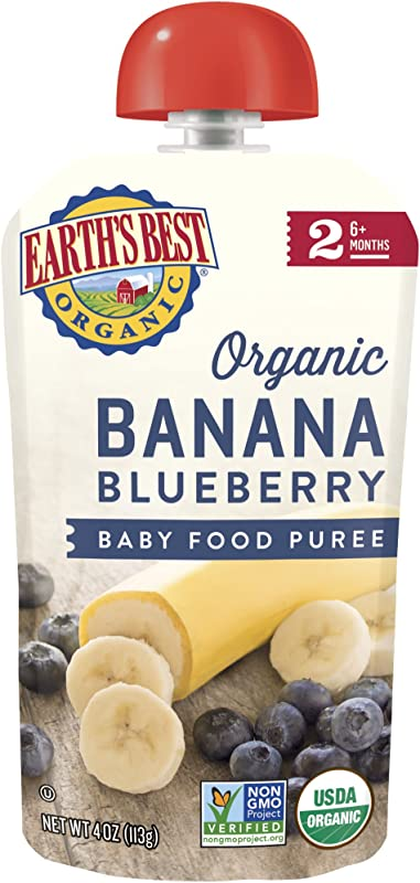 Earth S Best Organic Stage 2 Baby Food Banana Blueberry 4 Oz Pouch Pack Of 6