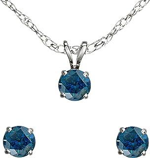Dazzlingrock Collection 0.25 Carat (ctw) Round Blue Diamond Ladies Stud Earring & Pendant Set 1/4 CT, 10K White Gold