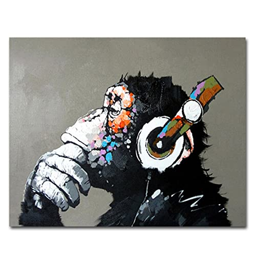 a9b51f2e6de Muzagroo Art Oil Paintings Listen to Music Gorilla Canvas Pictures for  Living Room Wall Decor M