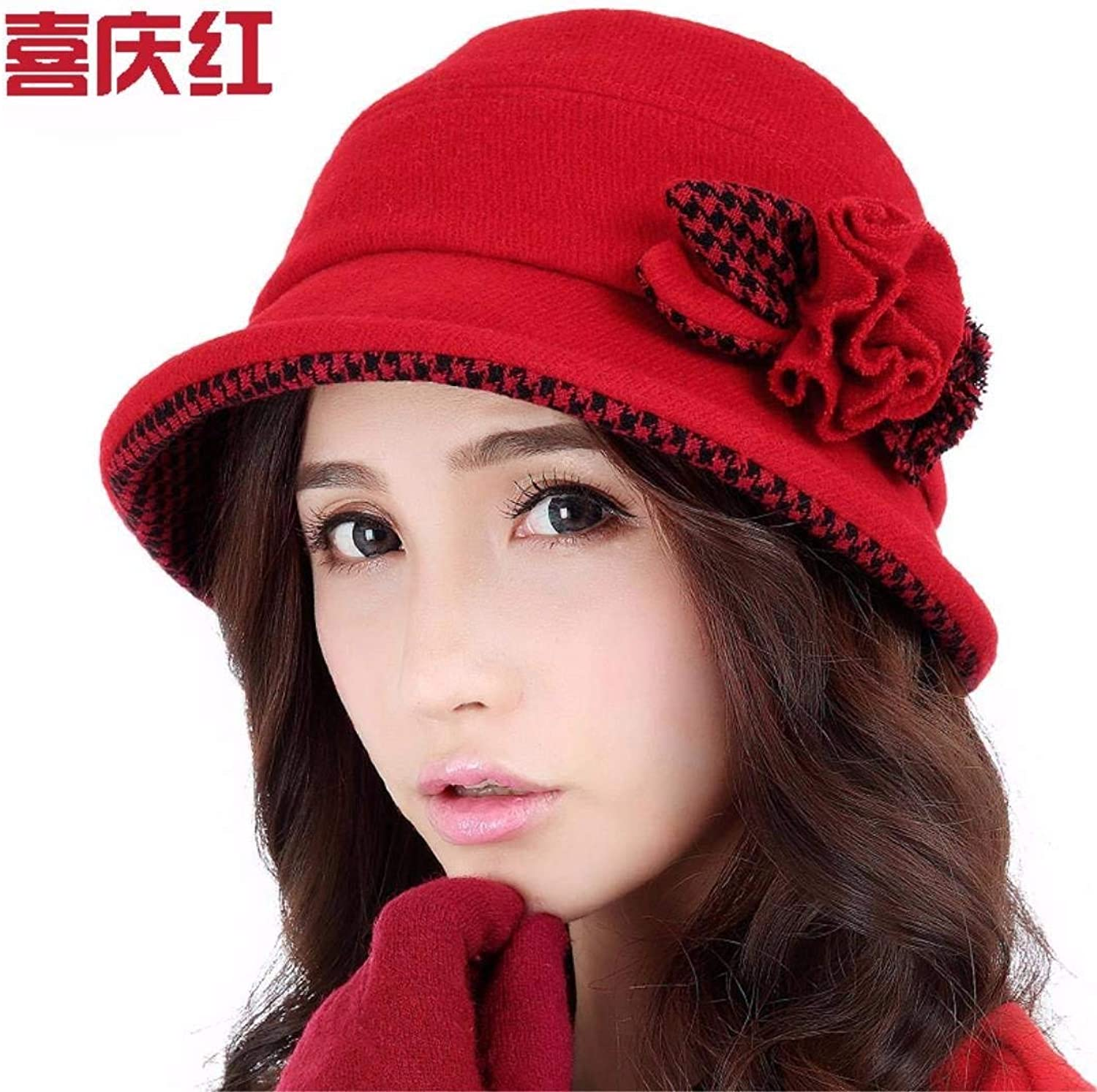 Dingkun The Small Roll edge hat female autumn and winter England basin cap, Elegant New