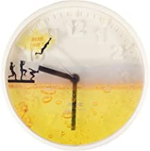 "ÉQUILIBRÉ Beer TIME! Quartz Wall Clock Modern Decorative 7.75"" Diameter Silent Sweep Non Ticking Minimalist and Numeral An..."