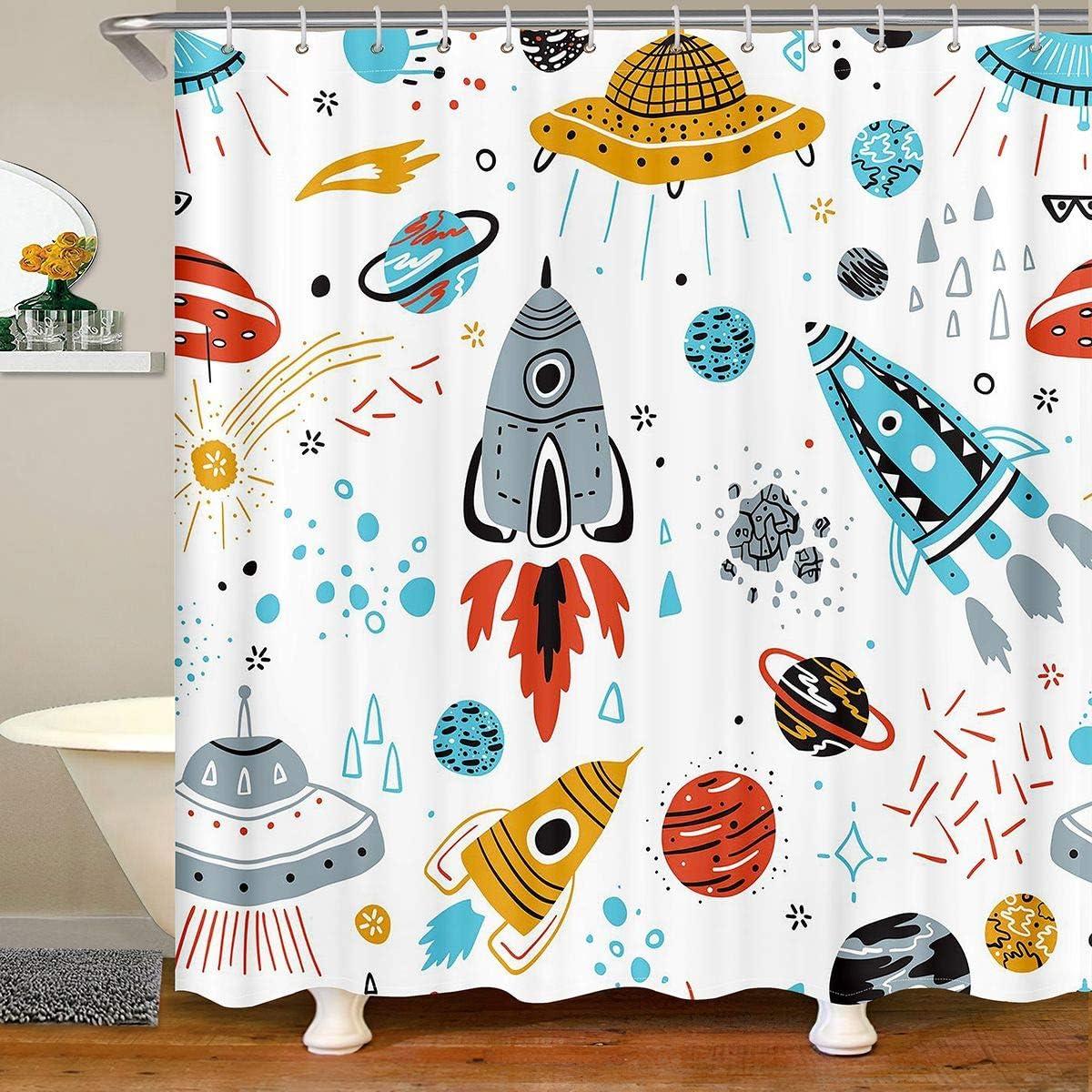 Feelyou Kids Space Rocket Shower Curtain Boys Universe Planet Bathroom Shower Curtain Set for Children Outer Space Adventure Bath Curtain Space Ship Design Waterproof Room Decor 72