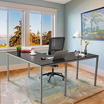 Upscale Decor L Shaped Corner Computer Gaming Desk Modern Workstation Table for Small Space Home Office, Black with Silver Grey Legs