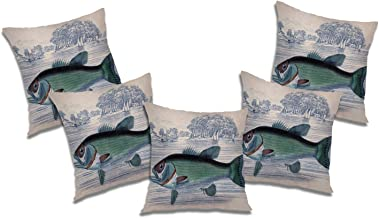 RADANYA Fish 3D Printed Polyester Cushion Cover Set of 5 Pcs (with Filler) - 20x20 Inch, Ivory