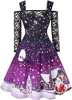 Lutos Plus Size Christmas Vintage Dress, Women Vintage 1950s Cold Shoulder Straps Lace Sleeve Party Swing Dress