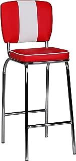 Wohnling WL 1.718- Taburete de Bar de Estilo Americano de los años 50, Estilo Retro, Color Blanco y Rojo