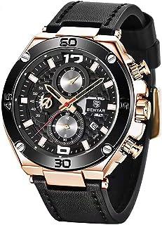 Benyar reloj de pulsera para hombre, cuarzo, cronógrafo, fecha, 3 ATM, resistente al agua, diseño deportivo, correa de cuero