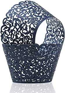 KPOSIYA Pack of 120 Cupcake Wrappers Artistic Bake Cake Paper Cups Vine Designed Laser Cut Cupcake Wraps Baking Cup Muffin Case Trays for Wedding Baby Shower Party Birthday Decoration (120, Navy blue)