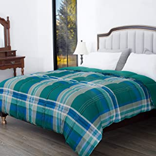 HOS LINENS Down Alternative Comforter,All Season Comforter, Protection Against Dust Mites,Hypoallergenic,Allergy Free Green/Green Plaid Twin/62X90