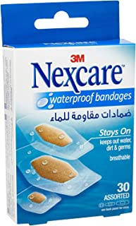 3M Nexcare 588-30D Waterproof Bandages, Assorted, 30s