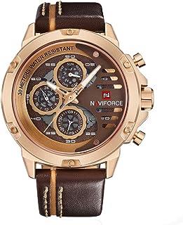 ساعة جلد دائرية انالوج بعقارب للرجال من نافي فورس 9110 RG-CE-BN، بني