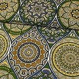 Stoffe Werning Dekostoff Mandalas blau grün Canvasstoffe