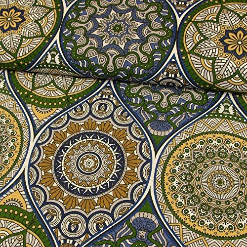 Stoffe Werning Dekostoff Mandalas blau grün Canvasstoffe Dekorationen Ornamente - Preis Gilt für 0,5 Meter