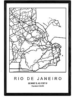 Nacnic Lámina Mapa de la Ciudad Rio de Janeiro Estilo nordi