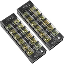 uxcell 2 Pcs Dual Rows 6 Positions 600V 25A Cable Barrier Block Terminal Strip TB-2506L