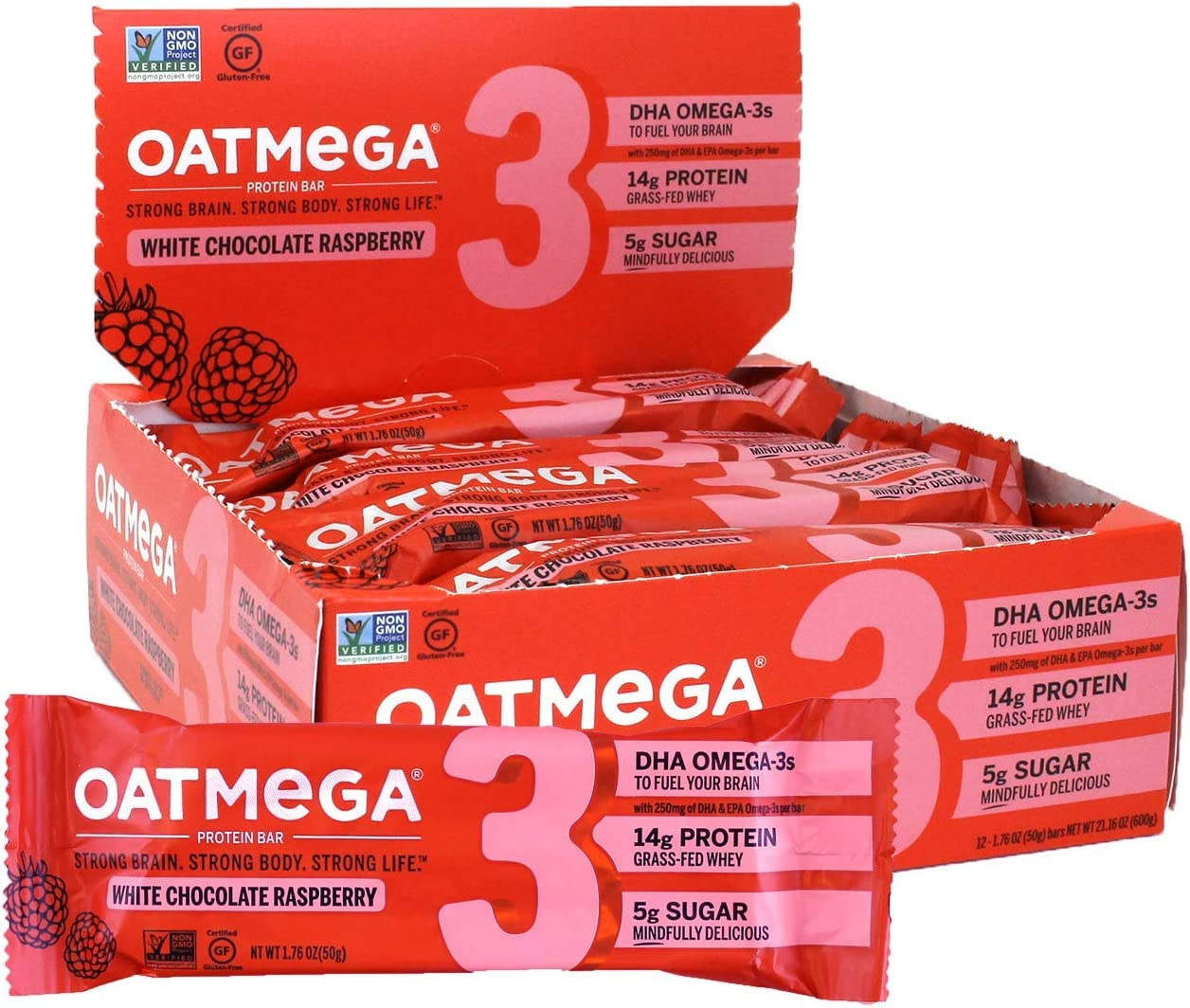 trend rank Oatmega Today's only Protein Bars White Raspberry Chocolate Snacks Healthy