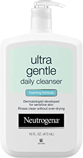 Neutrogena Ultra Gentle Daily Facial Cleanser for Sensitive Skin, Oil-Free, Soap-Free, Hypoallergenic & Non-Comedogenic Foaming Face Wash to Remove Dirt, Makeup & Impurities, 16 fl. oz