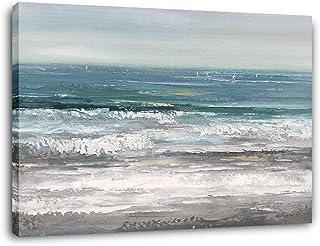 Yihui Arts كبيرة غرفة المعيشة جدار الفن مرسومة باليد الحديثة مجردة البحر قماش اللوحة النفط شاطئ المحيط الساحلي صورة فنية ل...