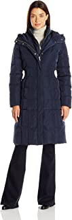 Cole Haan Women's Taffeta Quilted Down Coat with Elasticated Side Waist Detail