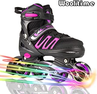 Woolitime Sports Adjustable Blades Roller Skates for Girls and Kids with Featuring All..