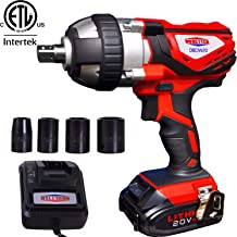 "Cordless Impact Wrench 1/2"" Max Torque 300N.m Compact Battery Impact Wrench with.."