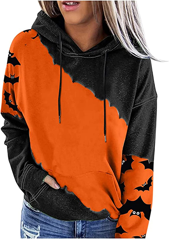 Halloween Long-awaited Hoodies for Women Women's Block Color Shi Sleeve Save money Long